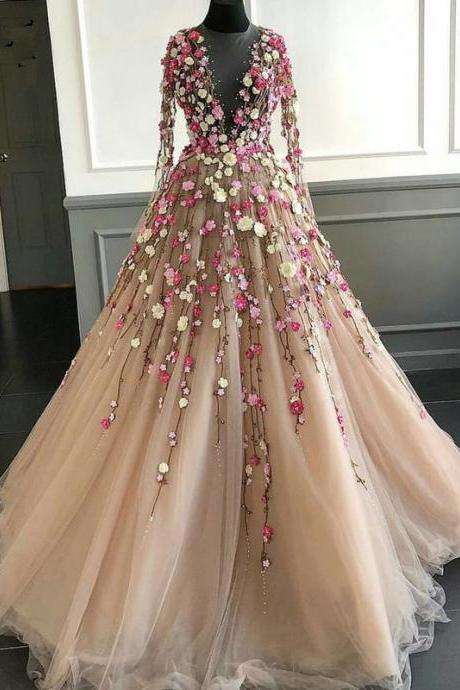 Beautiful Sheer Flower Wedding Dress with Long Sleeve A Line Vintage Champagne Bridal Gowns Custom Made