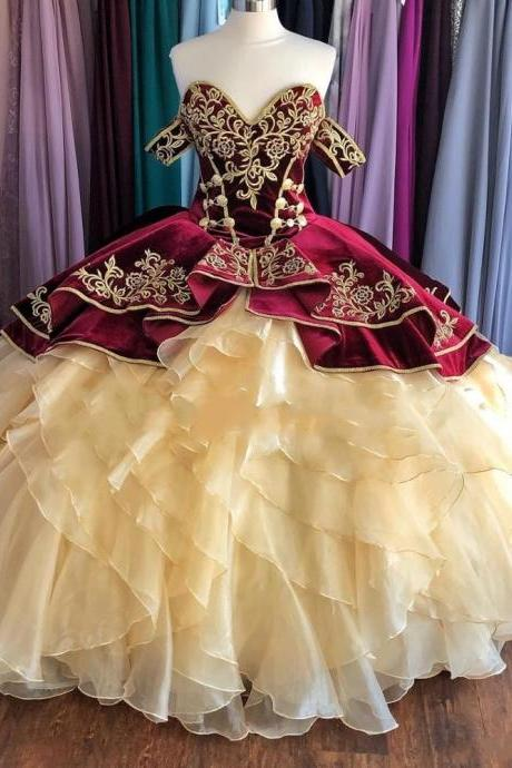 Sweet 16 Year Ball Gown Quinceanera Dresses Elegant Champagne Skirts with Burgundy Girls Birthday Party Dress