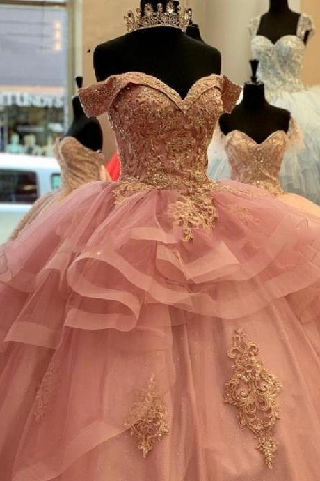Sweet 16 Year Off The Shoulder Pink Quinceanera Dress Ball Gown With Golden Appliques Custom Made