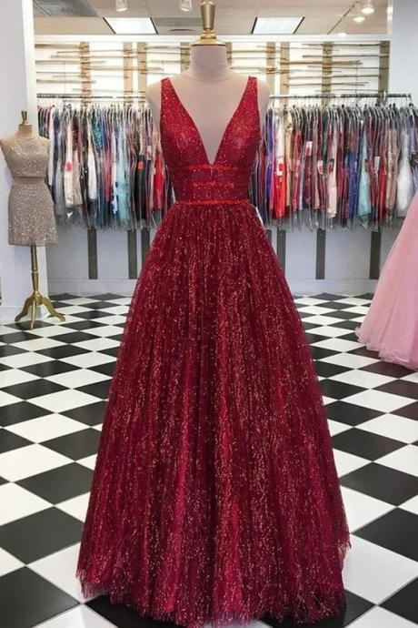 Shiny Sequins Dark Red Prom Dress Long Sexy V Neck A Line Floor Length Formal Party Dresses