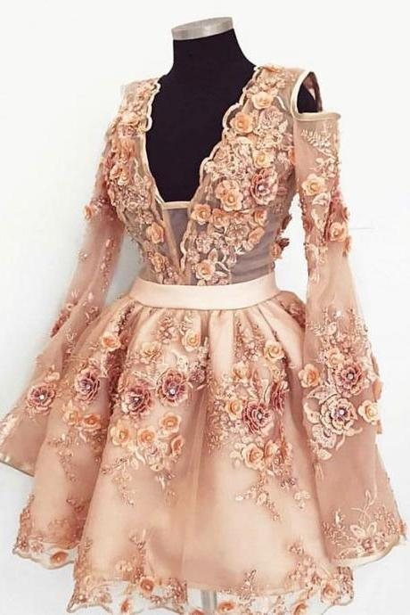 Long Sleeve Short Homecoming Dresses With Hand Made Flowers Sexy V Neck Short Party Dress