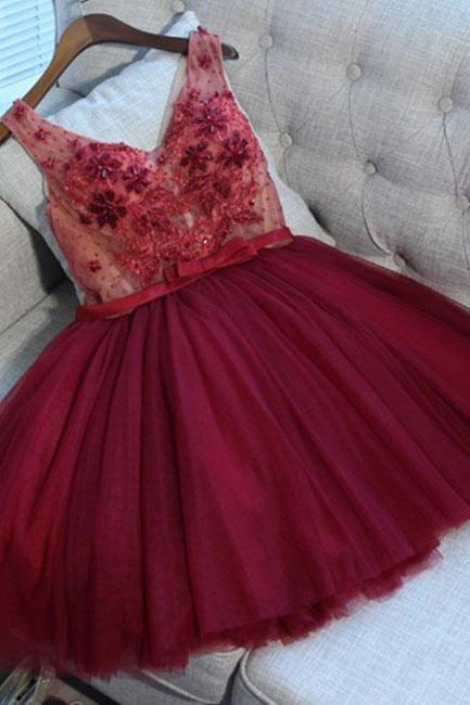 Short Burgundy Appliques Cystal Ballgown Homecoming Dress Short Tulle V Neck Prom Dress Short Sexy Sheer Party Dresses Custom Size