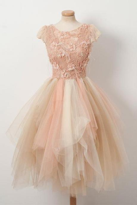 Mixed Blush Pink Prom Dress Knee Length Cap Sleeve Short Homecoming Dresses