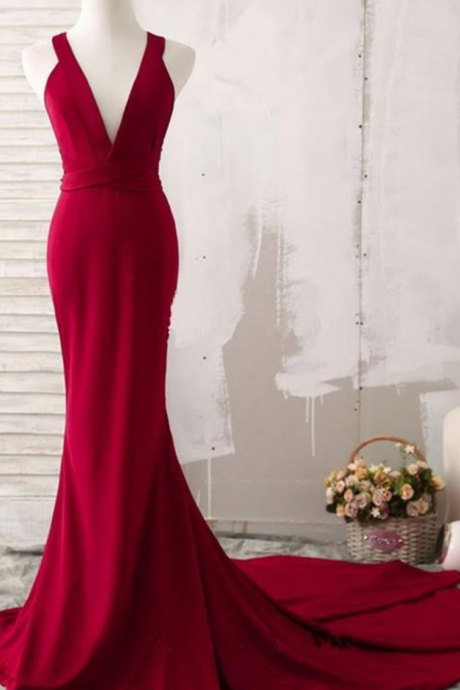 Sexy V Neck Mermaid Long Red Prom Dress Sweep Train Chiffon Simple Women Party Dresses