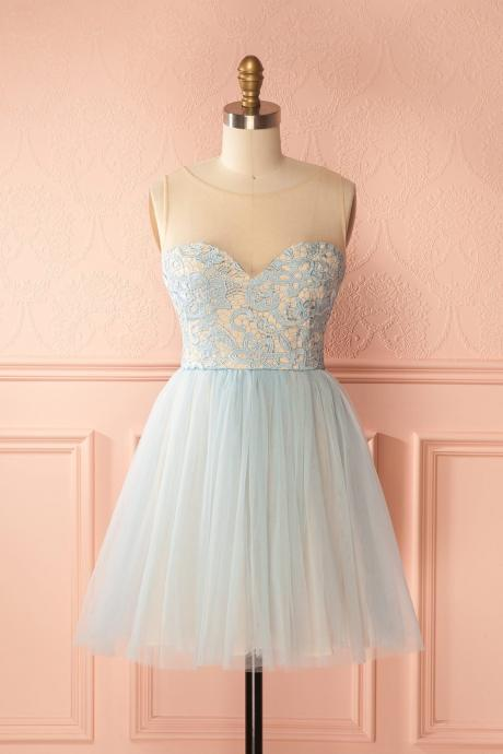 Sexy Sheer Short Blue Lace Bridesmaid Dress Plus Size Summer Cheap Short Maid Of Honor Dresses