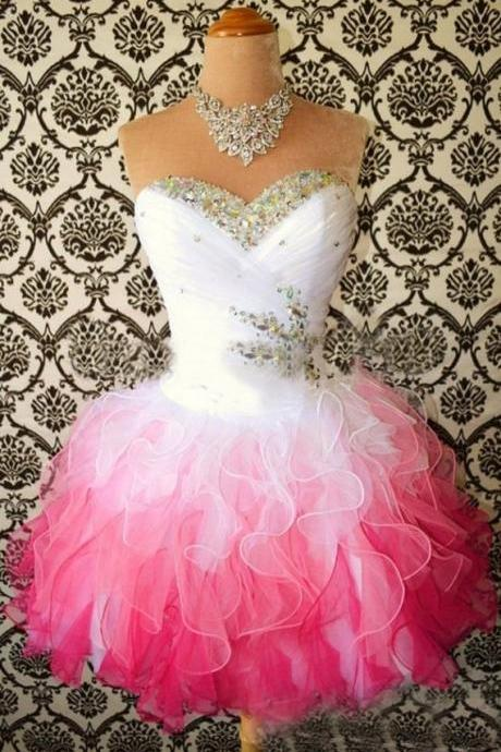 Short White Pink Homecoming Dresses Tiered Ruffles Tulle Sweetheart Corest Back Ball Gown Graduation Gowns