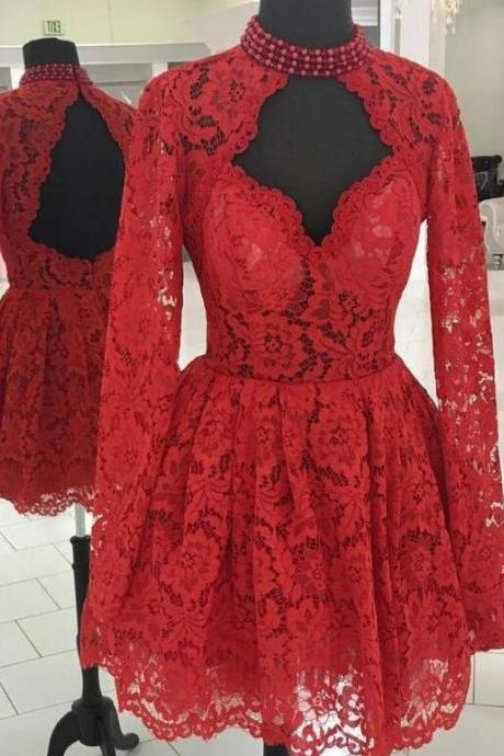 Sexy Open Back Red Homecoming Dress Short Lace Graudation Party Dresses with Long Sleeve