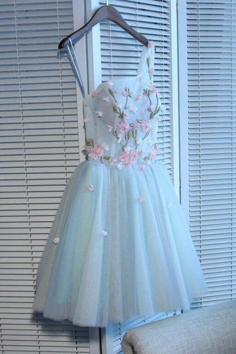 Short Light Blue Homecoming Dress 2020 Sexy One Shoulder Ball Gown Handmade Flowers Lady Prom Dresses