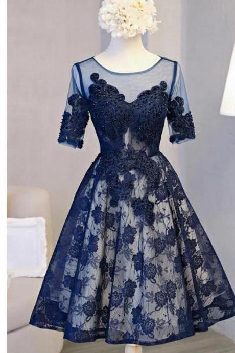 Short Navy Blue Lace Mother of the Bride Dress with Half Sleeve A Line Sexy Sheer Short Wedding Party Dresses