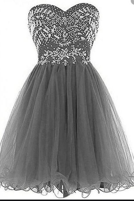 Sexy Gray Short Homecoming Dresses 2020 Beaded Top A Line Formal Party Dress