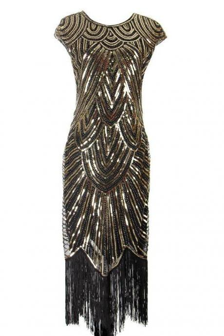 Women Vintage 1920s Dresses Floary Beaded Cocktail Flapper Dress with Sleeves Gatsby Party