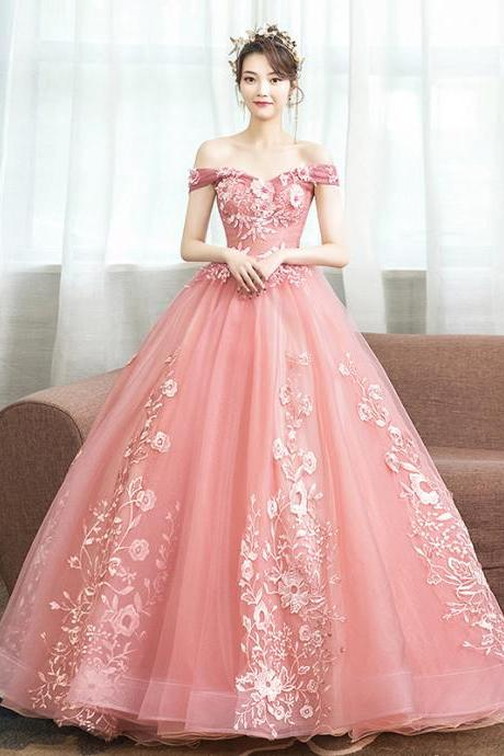 Off the Shoulder Pink Quinceanera Dress for 15 Year Ball Gown Corset Back Birthday Party Dresses