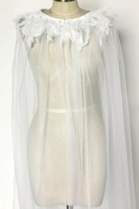 1.8m White Feather Wedding Cape for the Bride Runway Pageant Cape Accessories