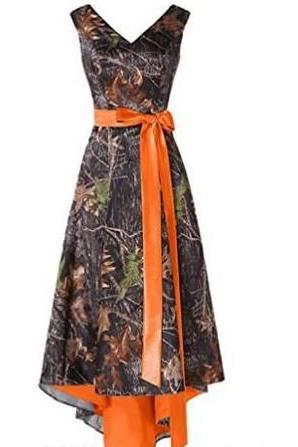 Camo Orange Bridesmaid Dress Plus Size High Low With Sash A Line Sexy V Neck Wedding Party Dresses