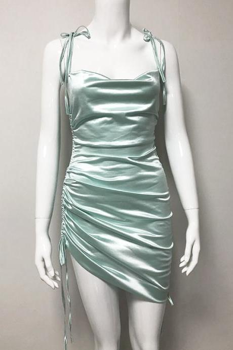 2020 Sexy Short Mint Green Party Dress Drawstring Criss Cross Back Sheath Club Outfit Wear