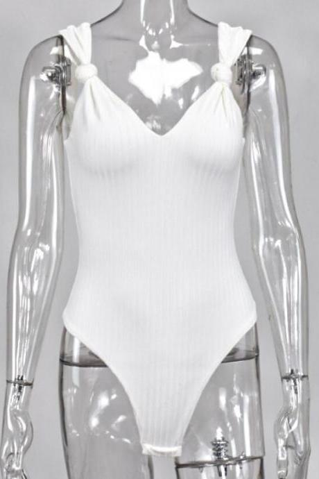 New Fashion Lady White Bodysuit Sexy V Neck Basic Underwear Women Casual Outfits Jumpsuits Clothing