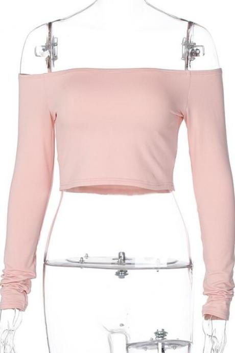 2020 Fashion Fall Winter Crop Tops Long Sleeve Sexy Off The Shoulder Pink Lady Outfits Wear Clothing