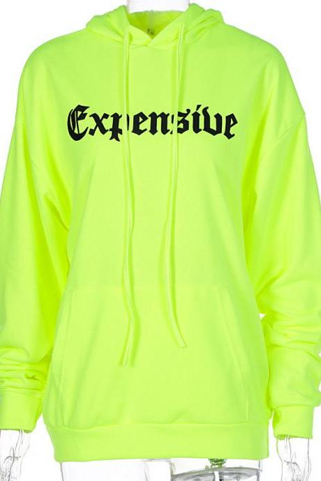 2020 Fall Winter Green Women Hoodies with Full Sleeve Oversized Girl's Pullovers Clothing Outfits