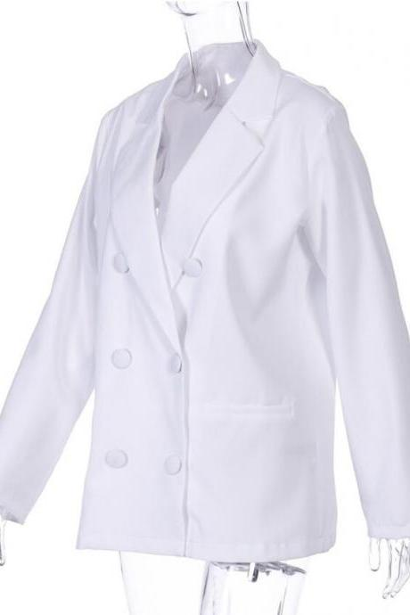 2020 Fall Women White Blazer Oversized Casual Lady's Clothing Suits Wear