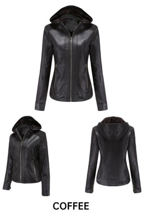 Women Moto Bike Leather Jacket with Removable Hooded Fall Winter Coat Outwear Clothing