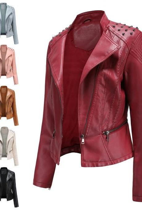 Fall Winter Women Slim PU Jacket Leather Coats Zipper Closure Short Moto Bike Cool Jackets Outwear