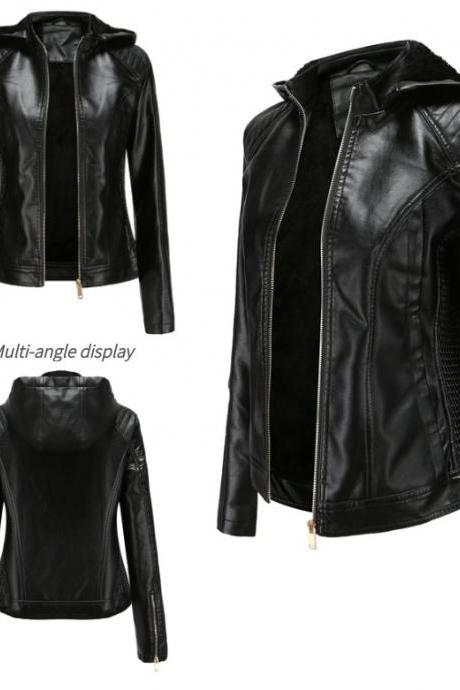 2020 Autumn PU Leather Coat for Women Full Sleeve Zipper Closure Moto Bike Jackets with Detachable Hooded