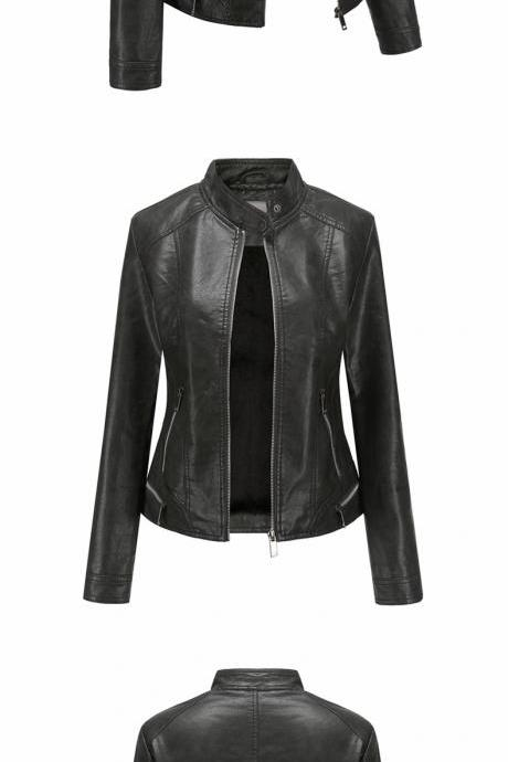 2020 Winter PU Leather Jacket for Women Plus cashmere Winter Lady Clothes Cool Moto Bike Jackets Coat Outwear