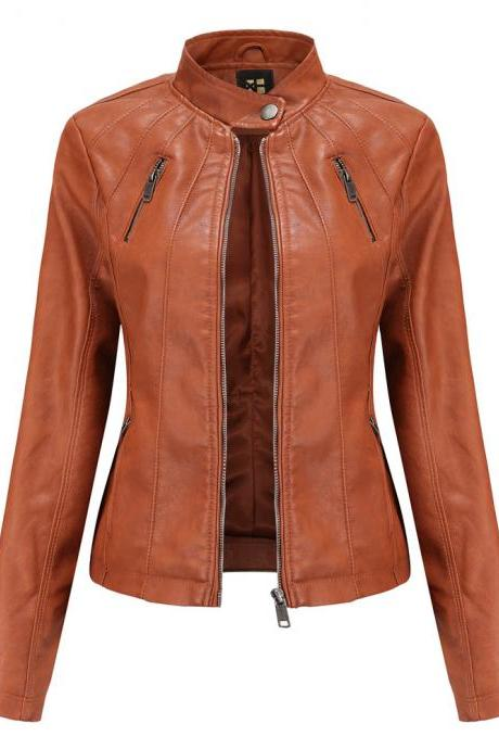 2020 Retro Brown Women Leather Jackets Coats Fall Spring Clothing Outwear Plus Size Cool Moto Bike Jacket