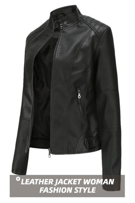 2020 Slim Black Women Pu Leather Jacket Short Cool Lady Moto Bike Coats Outwear Plus Size for Spring Autumn