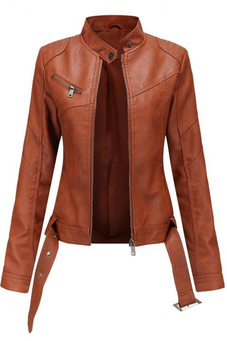 2020 Fall Winter Women PU Leather Jacket with Belt Zipper Closure Full Sleeve Cool Moto Bike Coats Jackets