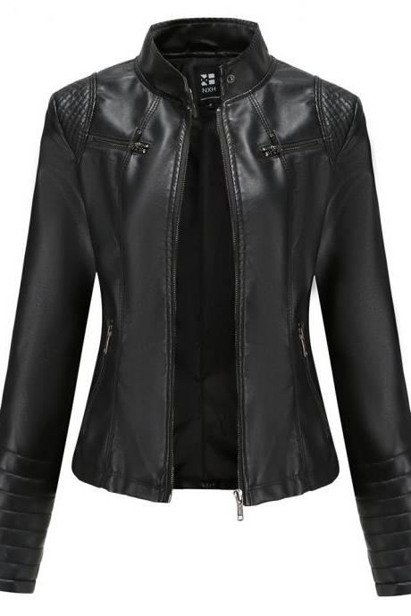 2020 Cool Moto Bike Women Jacket Plus Size PU Leather Fabrick Coat Fall Spring Outwear