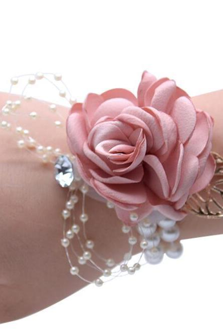 2 pcs Girl Bridesmaid Wrist Corsage Bridal Silk Wrist Flower with Faux Pearl Bead Stretch Bracelet Wristband Gold Leaf for Wedding Prom Hand Flowers Decor