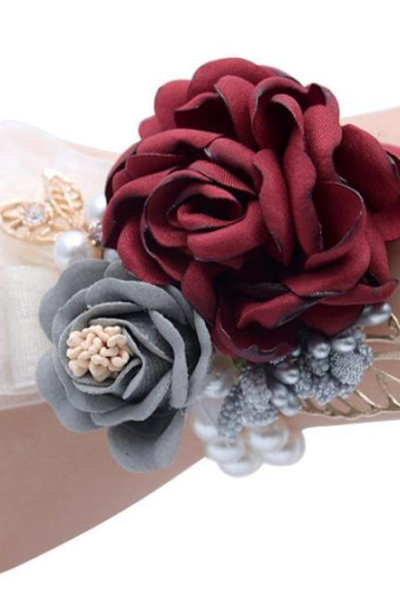 2Pcs Groom Boutonniere Man Women Bride Wrist Corsage Pearl Rose Pearls Wedding Flowers Party Decoration
