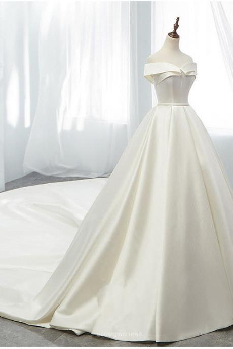 Wedding Dress Luxury Satin Elegant Boat Neck Bridal Dress With Train Ball Gown Princess Bride Custom