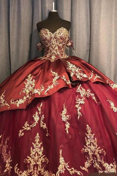 Burgundy Quinceanera Dress with Champagne Appliques Ball Gown Sexy Off the Shoulder Ball Gown Birthday Party Dress for 16 Year
