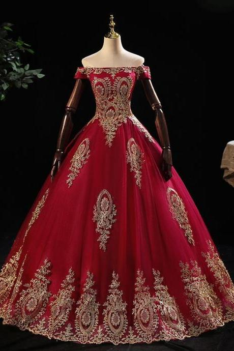 Long Red Prom Dresses with Golden Appliques Sexy Off The Shoulder Formal Women Party Dress Vestidos De Festa