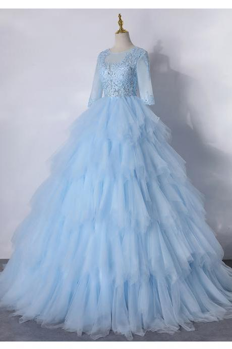 Ruffles Tiered Sky Blue Long Evening Dress with Half Sleeve Sexy Sheer Illusion Formal Women Prom Dresses