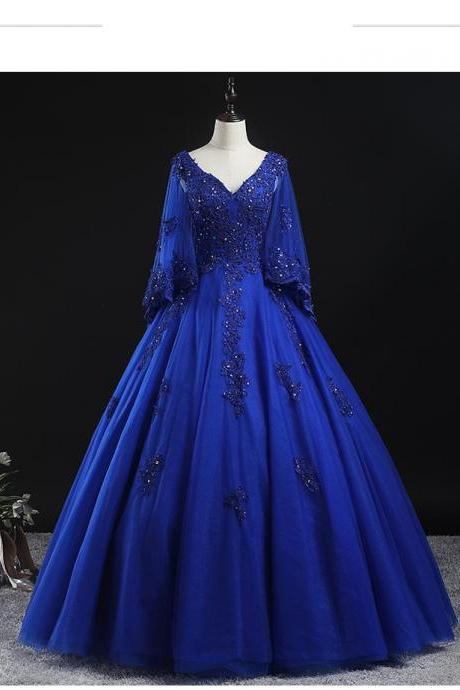 Royal Blue Quinceanera Dress for Sweet 16 Year Ball Gowns Sexy V Neck Half Sleeve Lace Appliques Birthday Party Dresses