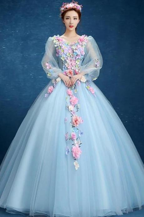 Quinceanera Long Sleeve Dress, V-neck, For Prom Party, Solo, Sweet, Floral, Fancy, Plus Size Dress
