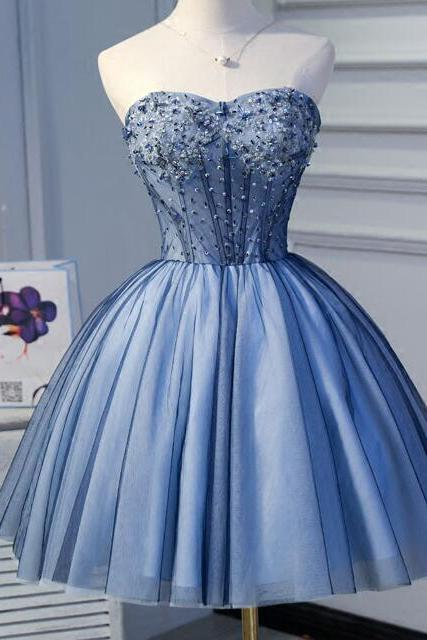 Mini Short Blue Homecoming Dress Prom Gowns Sexy Sweetheart Backless Beaded Sequins Top Short Party Dresses Ball Gown