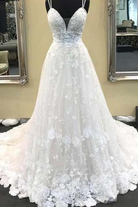 Sexy Lace Long Boho Wedding Dresses Sweep Train Spaghetti Strap Summer Beach Gowns for Bride