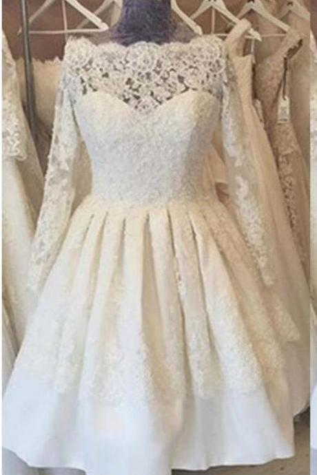 Short Beach Lace Wedding Dress with Long Cap Sleeve A Line Boho Wedding Bridal Gowns