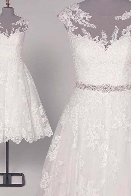 Summer Beach Short White Lace Wedding Dresses with Beaded Sash A Line Sexy Sheer Formal Bridal Gowns