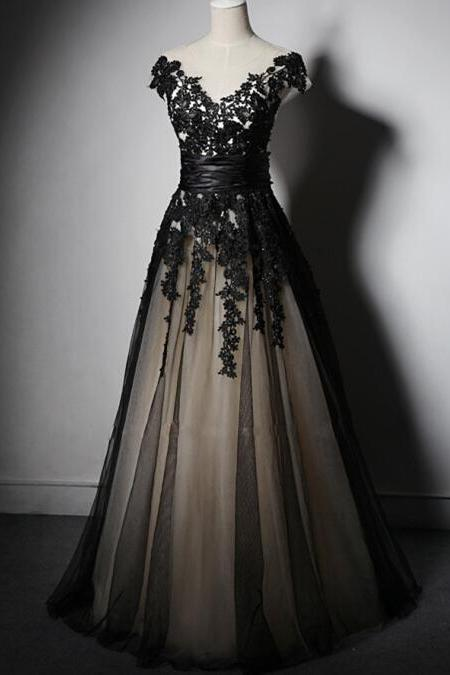 Sheer Black Long Lace Applique Formal Prom Dresses Black Party Dresses Women Evening Dresses