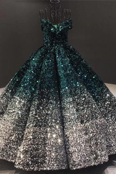 Sexy Green&Silver Prom Dresses Sweet 15 Year Ball Gown Sequins Formal Party Dress Long