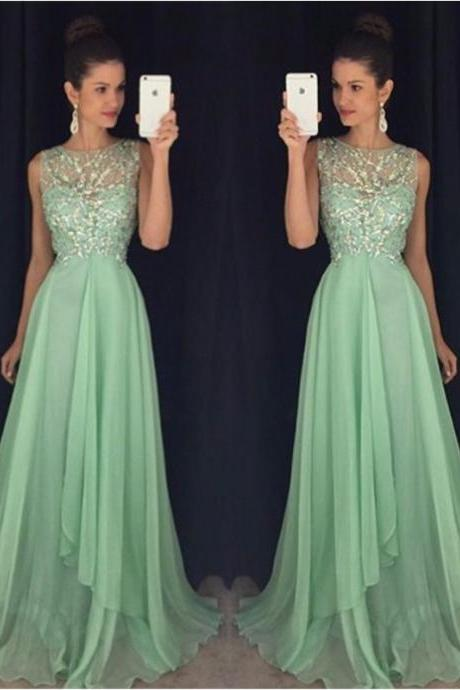 2017 Abendkleider Elegant Mint Green Chiffon Long Evening Dress, 2017 Vintage Mint Green Prom Dress, Luxury Beaded Formal Party Dress, A Line Jewel Neck Floor Length Pageant Gala Dress, Plus Size Cheap Sexy Sheer Prom Dresses Long 2017,