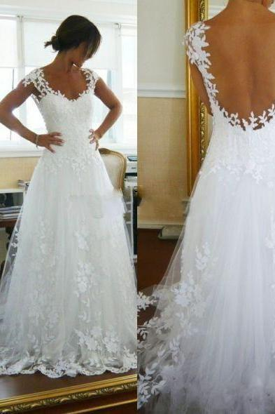 Beach Lace Wedding Dresses 2017, Sexy Sheer Wedding Gowns Illusion Back See Through , Vintage Tulle White Wedding Bridal Dress, Plus Size Long Wedding Dress, Short Cap Sleeve Lace Wedding Gowns 2017, A Line Floor Length Beach Wedding Dress Robe De Marriage
