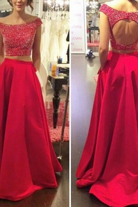 Two Pieces Red Prom Dresses, Short Cap Sleeve Luxury Beaded Red Party Dress, 2017 Vintage Long Red Party Dress, A Line Floor Length Scoop Red Celebrity Dress, Sexy Open Back Formal Elegant Evening Dresses,2017 Abendkleider