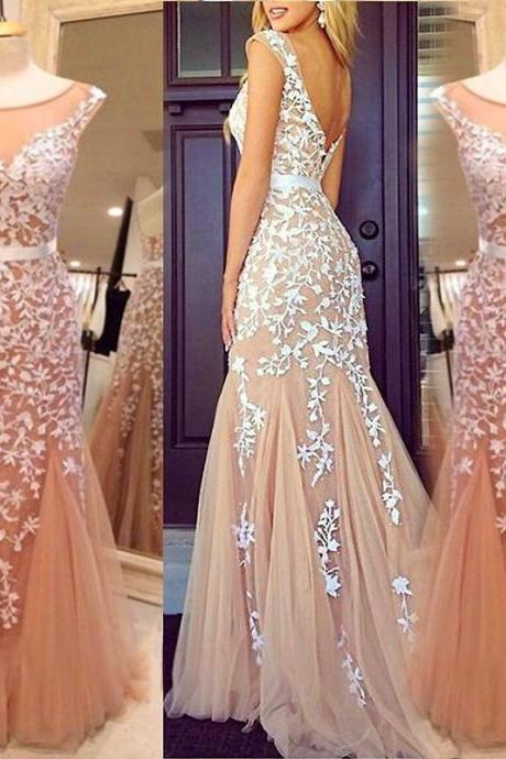 Long Prom Dress 2017, Short Cap Sleeve Sheer Prom Dress, Vintage Champagne Prom Dress, Illusion Neck White Lace Party Dress, 2017 Sexy Open Back Evening Dress, Formal Women Evening Gowns, Sexy Mermaid Prom Dress With Waist Sash, Vestidos De Festa 2017