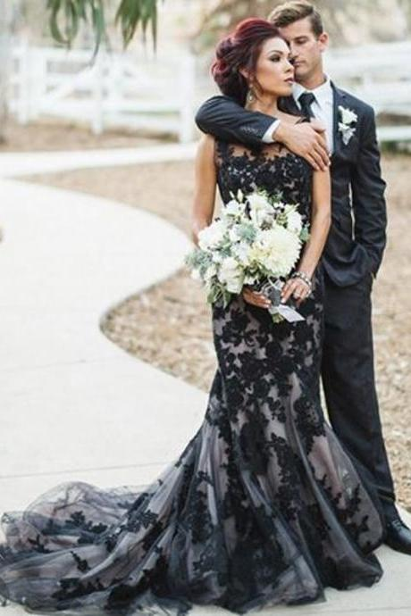 Illusion Lace Prom Dresses, Sexy Mermaid Long Party Dresses, 2017 Black Lace Prom Dress, Sexy Sheer Prom Dresses, Cheap Black Evening Dress Formal Gowns, 2017 Evening Dresses With Court Train, Jewel Neck Sleeveless Sexy Party Dresses 2017